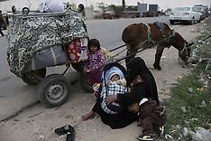 FEB 04 2014 Palestinians wait to enter Egypt through the Rafah border