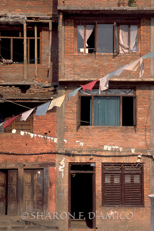 Red Brick Apartments and Prayer Flags,Kathmadu
