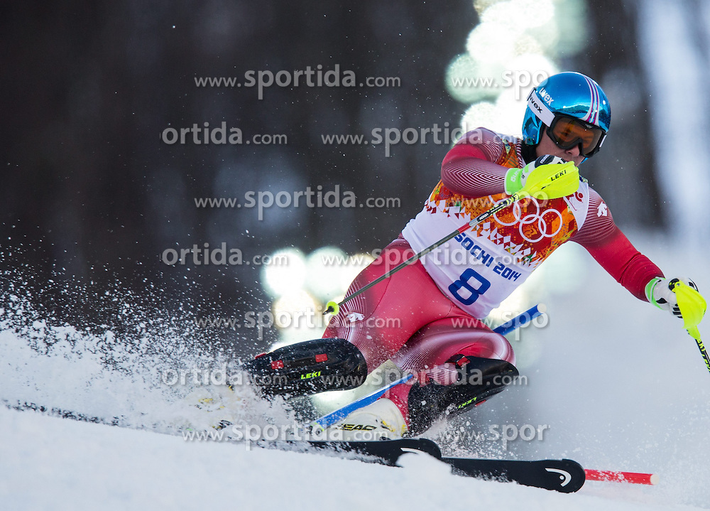 14.02.2014, Rosa Khutor Alpine Center, Krasnaya Polyana, RUS, Sochi 2014, Super- Kombination, Herren, Slalom, im Bild Beat Feuz (SUI) // Beat Feuz of Switzerland in action during the Slalom of the mens Super Combined of the Olympic Winter Games 'Sochi 2014' at the Rosa Khutor Alpine Center in Krasnaya Polyana, Russia on 2014/02/14. EXPA Pictures © 2014, PhotoCredit: EXPA/ Johann Groder