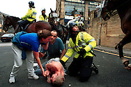 A white man lies injured after being stabbed in the back during disturbances in Bradford city centre. A planned march by The National Front in Bradford today was banned by the police but local Asians and groups of white men still clashed throughout the afternoon. Shops, pubs and cars were also damaged. .