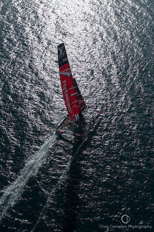Emirates Team New Zealand sail NZL5 for the last time in New Zealand before being shipped to San Francisco. 3/4/2013