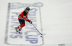 Apr 15, 2009; Newark, NJ, USA; New Jersey Devils center Travis Zajac (19) skates during the pre-game warmups of game one of the eastern conference quarterfinals of the 2009 Stanley Cup playoffs at the Prudential Center.