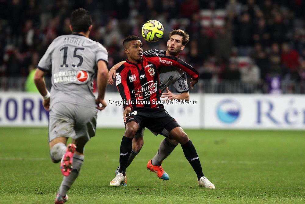 Alassane PLEA / Florian THAUVIN  - 23.01.2015 - Nice / Marseille - 22eme journee de Ligue 1<br />Photo : Jean Christophe Magnenet / Icon Sport
