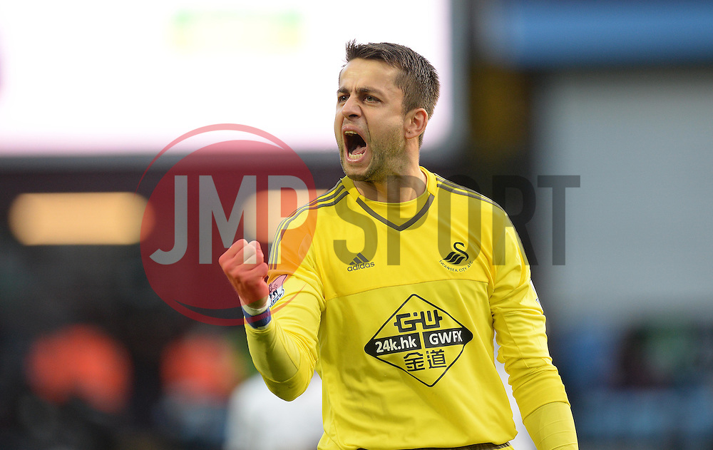 Lukas Fabianski of Swansea City celebrates at full time. - Mandatory byline: Alex James/JMP - 07966 386802 - 24/10/2015 - FOOTBALL - Villa Park - Birmingham, England - Aston Villa v Swansea City - Barclays Premier League