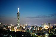 Dusk settles behind Taipei 101 in Taipei, Taiwan.