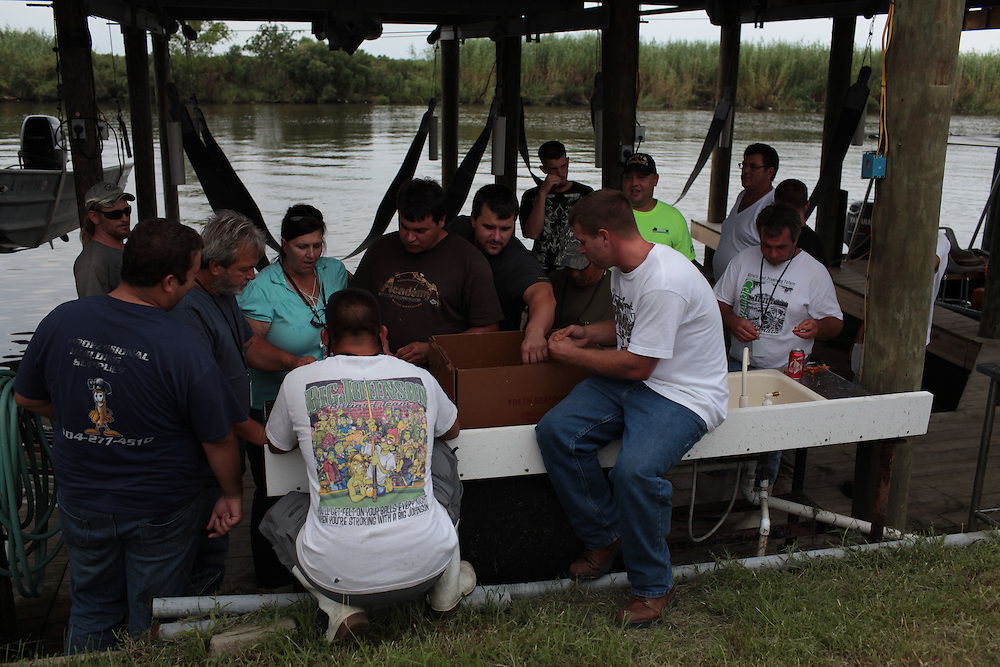 Local fishermen gather for a shrimp cook off on Delacroix Island, LA August 26th, 2010.