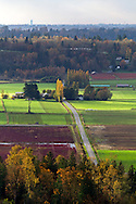 View of Glen Valley farmland including mature cranberry fields and country roads. Photographed in the fall from the north end of Bradner Road in Abbotsford, British Columbia, Canada