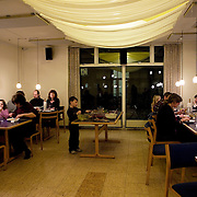 Arhus, Denmark, February 8th, 2010. The common dinner. People in Rumlepotten eat togheter 5 times a week.