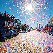 CHICAGO, IL - NOVEMBER 4, 2016: Confetti covers the streets during 2016 World Series Victory Parade in Downtown Chicago on November 4, 2016 in Chicago, Illinois. (Photo by Jean Fruth)