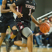 12/30/11 Newark DE: Temple Junior Guard #1 Khalif Wyatt in transition during a NCAA basketball game against Delaware Friday, Dec. 30, 2011 at the Bob carpenter center in Newark Delaware...Rahlir Jefferson-Hollis led the Owls with 13 points and eight rebounds, Anthony Lee added a career-high 12 points, seven rebounds, and three blocks, Juan Fernandez contributed 11 points, and Ramone Moore chipped in with 10 points and a game-high six assists.