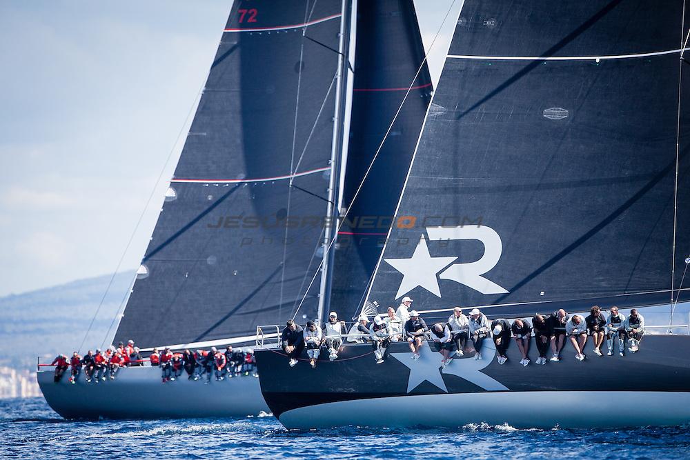 "Maxi 72 ""Robertissima III "" training in Palma for the 2015 season. ©JESUSRENEDO/ROBERTOSAILINGTEAM"
