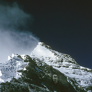 The Second Step and Summit Pyramid of Mount Everest as viewed from Mushroom Rock on the Northeast Ridge, Tibet, China.