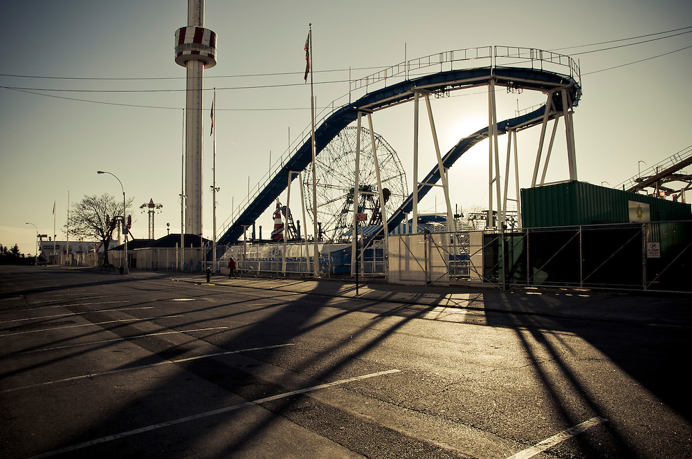 Closed park attractions and empty streets during off-season at Coney Island, Brooklyn, New York, 2010.