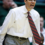 SHOT 2/23/10 9:05:18 PM - Colorado State head basketball coach Tim Miles on the sideline against New Mexico during the first half of their regular season Mountain West Conference game at Moby Arena in Fort Collins, Co. New Mexico survived a tight game winning 72-66. (Photo by Marc Piscotty / © 2010)