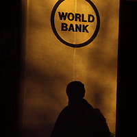A sign on a wall of the old World Bank Headquarters building in Washington, DC.