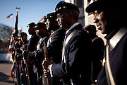 Reenactors from the 54th Massachusetts Volunteer Infantry Company A rehearse for the inaugural parade, January 20, 2013 in Washington, D.C.