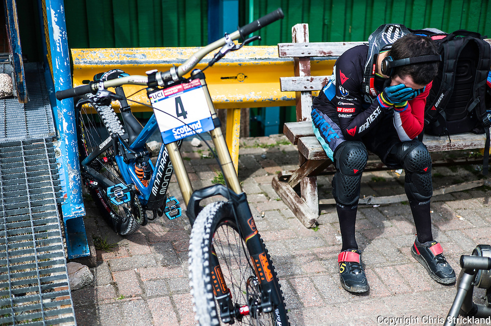 Nevis Range, Fort William, Scotland, UK. 4th June 2016. British rider and a race favourite Danny Hart gains some focus pre qualifying. The worlds leading mountain bikers descend on Fort William for the UCI World Cup on Nevis Range.
