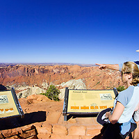 Tourists observe the contours of Upheaval Dome,  Canyonlands National Park, Utah