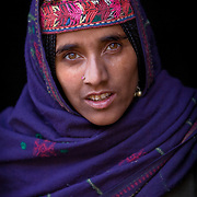 "A Bakarwal Gujjar woman with her traditional embroidered hat, or ""topi"". Lidderwat, Kashmir, India"