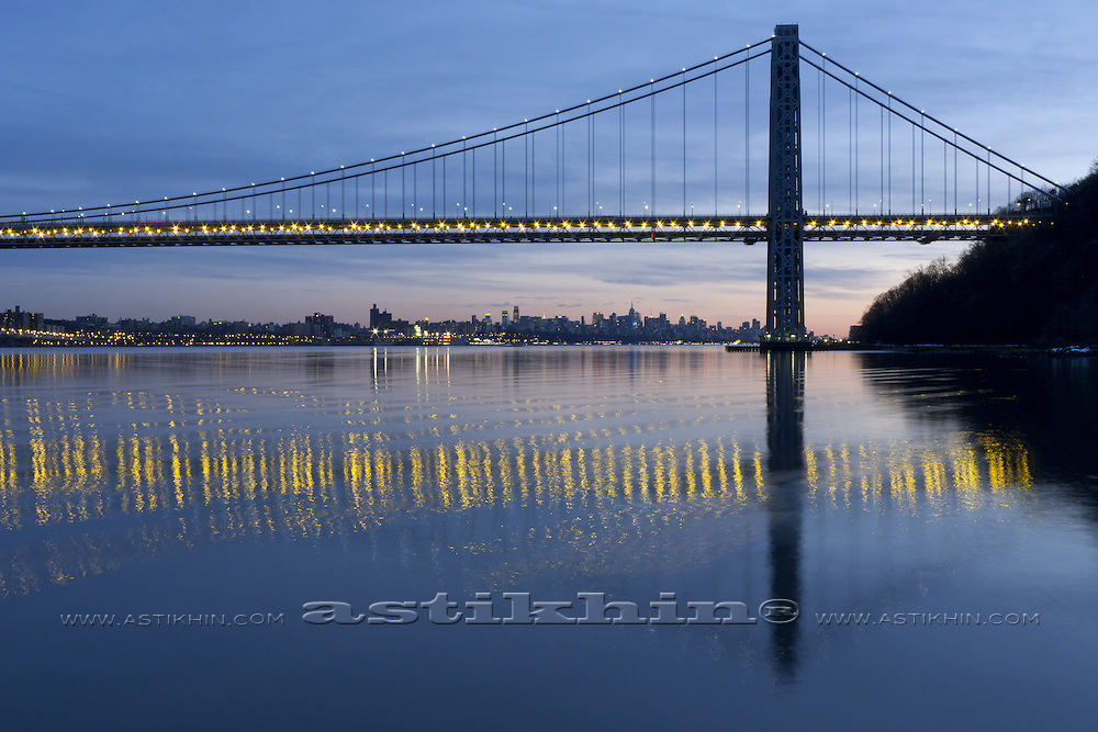 Reflection of GW Bridge on Hudson.