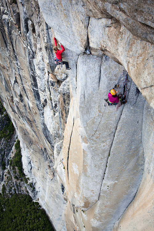 Kate Rutherford and Madaleine Sorkin climbing FreeRider (VI 5.12+), El Cap, Yosemite, CA