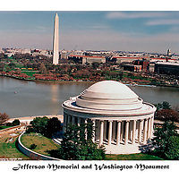 Aerial view of Washington Monument, Jefferson Memorial and Tidal Basin with Smithsonian Museum.