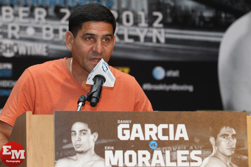 Aug 30, 2012; Brooklyn, NY, USA; Angel Garcia, father of Danny Garcia, speaks at the press conference at New York Marriott at the Brooklyn Bridge. The press conference announced the upcoming October 20th card at the Barclay's Center.
