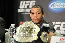 October 5, 2011; Houston, TX.; USA;  UFC Featherweight Champion Jose Aldo speaks at the final press conference for his fight against Kenny Florian at UFC 136.