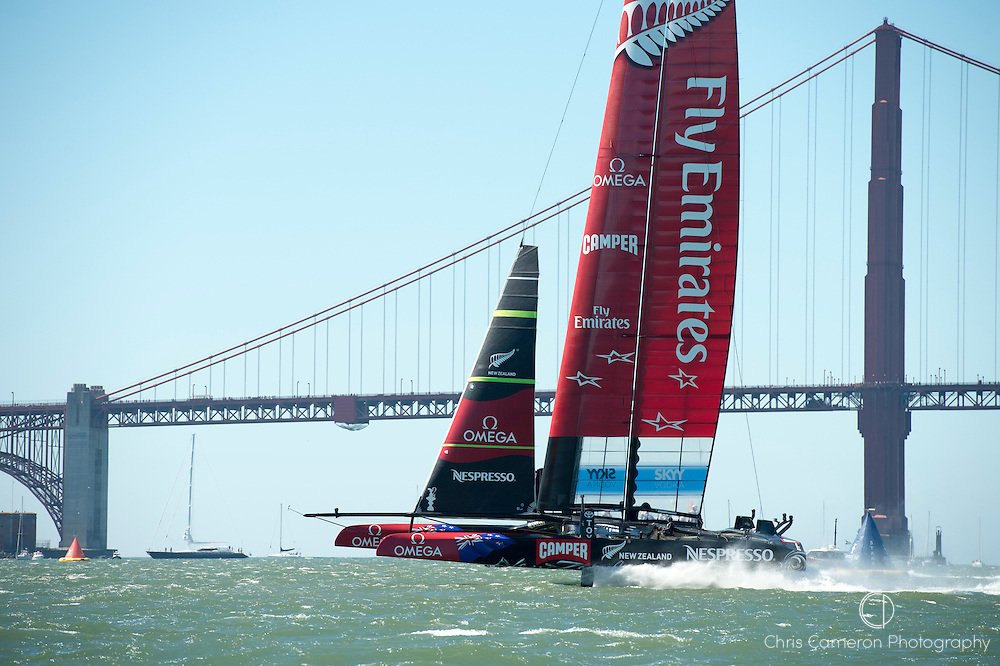 Emirates Team New Zealand practice before race nine on day six of America's Cup 34. 15/9/2013
