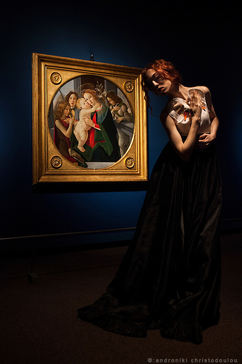 "Italian performance artist Reverie, performing in front of a painting during the ""Botticelli and His Time"" exhibition at the Tokyo Metropolitan Art Museum."