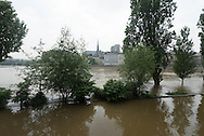 Paris . Flooding . The Seine river in Paris city center. quay of the Hotel de Ville