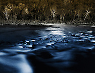 Moonlight reflecting off the Delaware River in Lambertville, New Jersey.