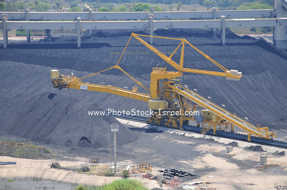 Israel, Hadera, The Orot Rabin coal operated power plant. Coal storage site