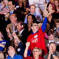 TAMPA, FL -- Supporters cheer for Republican presidential candidate former Gov. Mitt Romney after it was called during his Election Night party on decision day during his victory in the Florida Primary on Tuesday, January 31, 2012. (Chip Litherland for The New York Times)