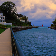 &quot;Walkway to Charlevoix Light Station&quot;<br /> <br /> The beautiful walkway that goes from the town center in Charlevoix to the South Pier Light Station.