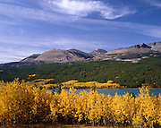 AA01131-04...MONTANA - Fall color along Lower Two Medicine Lake in Glacier National Park.