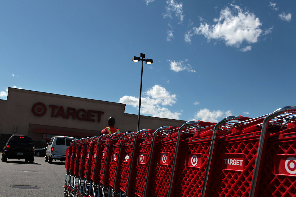 Cart are wheeled through the parking lot at Target in Valley Stream, NY on June 2, 2011.