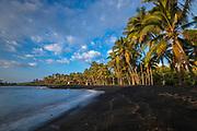 Punalu'u Black Sand Beach in the Ka'u District on the Big Island of Hawaii.