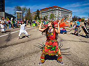 22 APRIL 2017 - ST. PAUL, MN: Nahuatl dancers perform near the Minnesota State Capitol during the March for Science. More than 10,000 people marched from the St. Paul Cathedral to the Minnesota State Capitol in St. Paul during the March for Science. March organizers said the march was non-partisan and was to show support for the sciences, including the sciences behind climate change and vaccines.      PHOTO BY JACK KURTZ