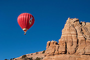 Hot air balloon at annual Red Rock Balloon Rally; Red Rock State Park, Gallup, New Mexico.