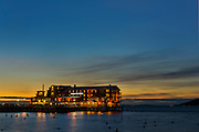 The Cannery Pier Hotel  at Astoria, OR during sunset.