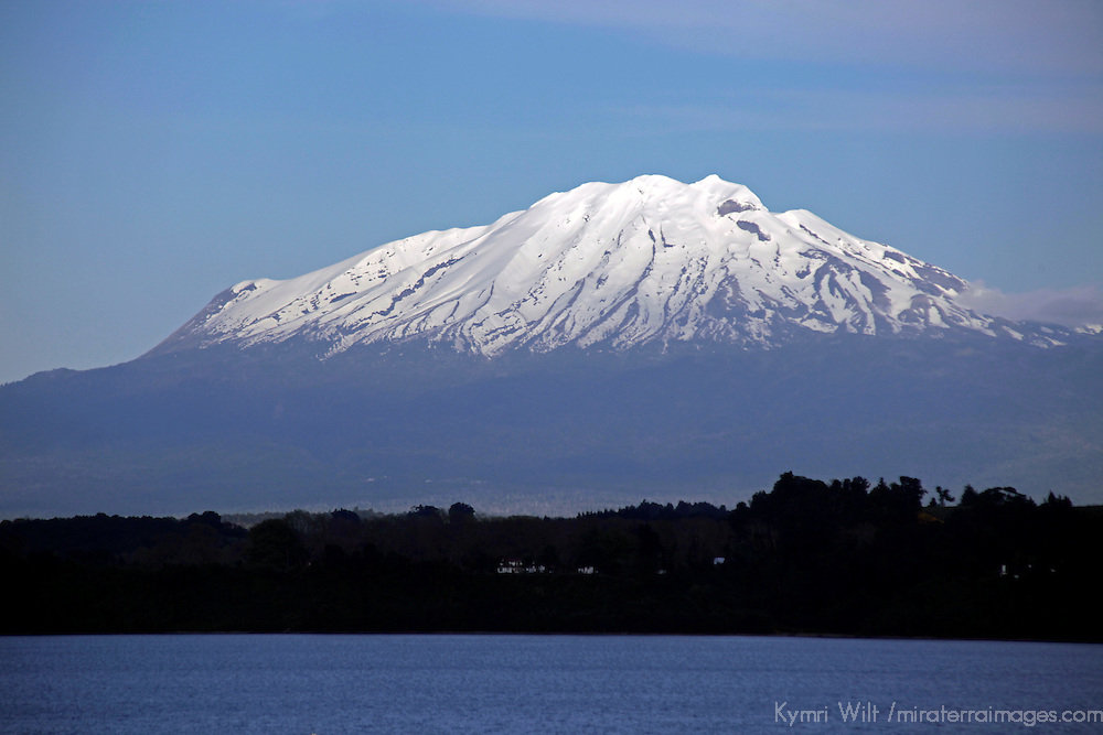 South America, Chile, Puerto Varas. Mt. Calbuco overlooking Llanquihue Lake.