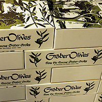 USA, California, Ontario. Olive packaging boxes at Graber Olive House.
