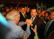 Mariano Rajoy, leader of the Spanish Popular Party, salutes supporters during a Popular Party rally at the Ayala Theatre on Tuesday, Feb. 26, 2008 in Bilbao, Spain. Rajoy is running against Jose Luis Rodriguez Zapatero, Spain's prime minister in the upcoming March 9th election. Contact photographer tel:+34 654488091/ Email: info@markelredondo.com.