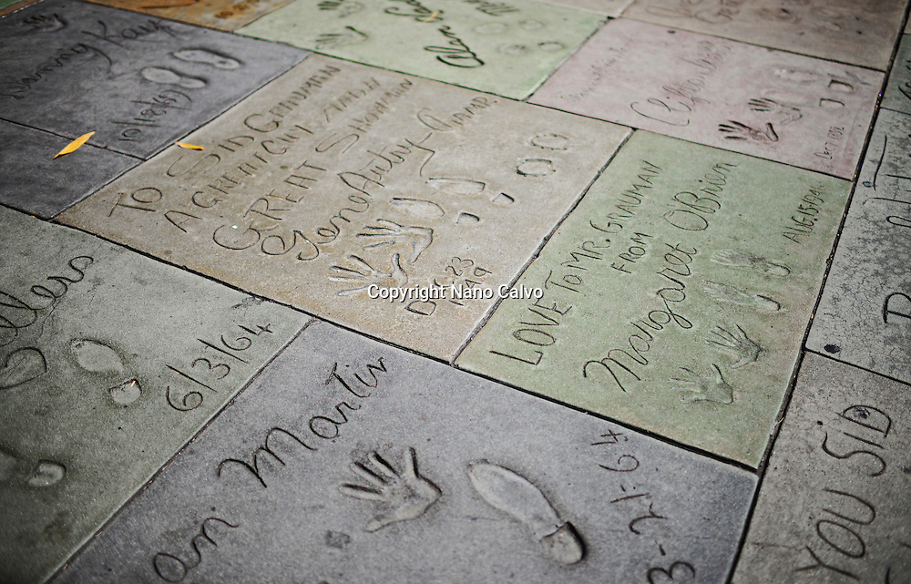 Actor prints at Grauman's Chinese Theatre, Hollywood Boulevard.