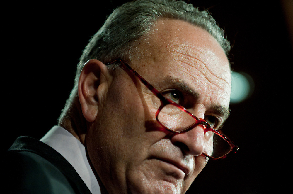 Senator CHUCK SCHUMER (D-NY) during a news conference on disaster relief funding on Capitol Hill on Thursday.