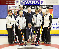 34th Yara Farmers Curling Competition at Dewars Centre, Perth, 23rd to 27th January. <br /> <br /> John Middelton, area manager with Yara UK throws the first stone of the competition with Gwen Prentice's team from the Borders and Jackson Robb's team from Perth and Alan Wood of Yara.<br /> <br /> Payment to Craig Stephen, Perth. 07905 483532