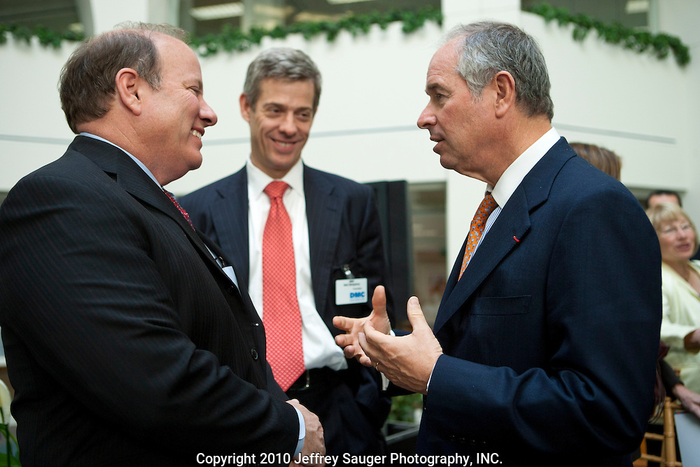 Stephen A. Schwarzman, Chairman and CEO of The Blackstone Group, left, speaks with Mike Duggan, CEO of Detroit Medical Center, left, and Neil Simpkins, a Blackstone senior managing director, at the Undergraduate Library at Wayne State University in Detroit, MI, Friday, April 30, 2010. Blackstone is the majority owner of Vanguard Health Systems which is waiting for approval of its purchase of DMC....The Blackstone Charitable Foundation in collaboration with the New Economy Initiative for Southeast Michigan announced that Wayne State University, Walsh College, and the University of Miami have been selected as partners for The Blackstone Charitable Foundation's grant to help expand The Launch Pad program to two Michigan partners – Walsh College and Wayne State University. (Jeffrey Sauger)