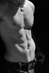 shirtless muscular man's torso