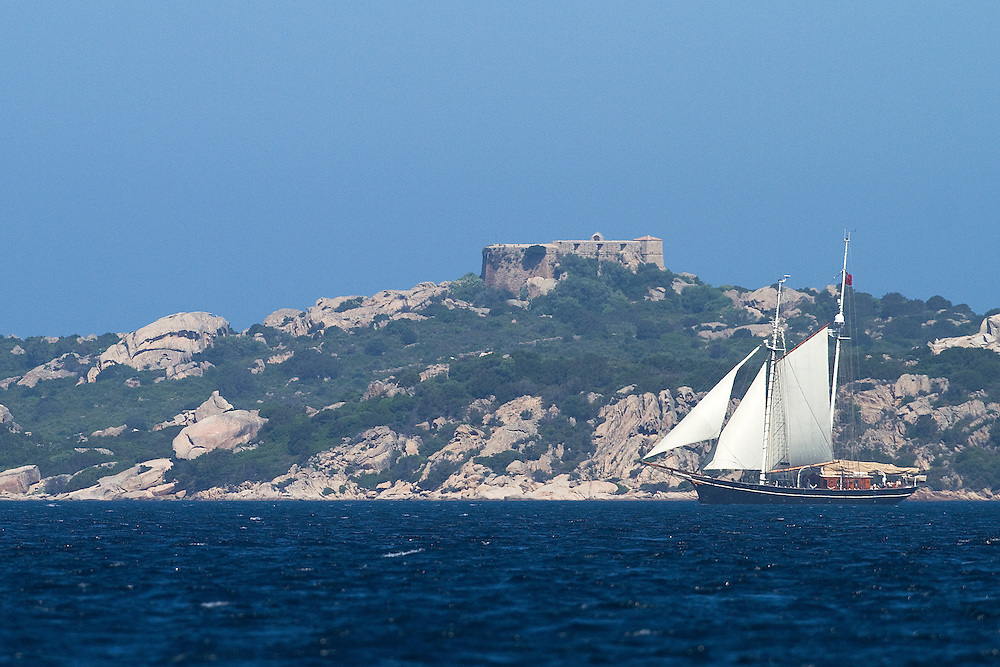 An old sailing ship at the Louis Vuitton Trophy, La Maddalena, Italy. 1 June 2010. Photo: Gareth Cooke/Subzero Images
